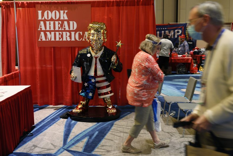 Golden statue of Donald Trump at CPAC
