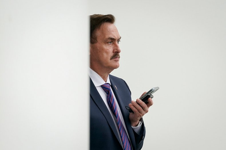 MyPillow CEO Mike Lindell waits outside the