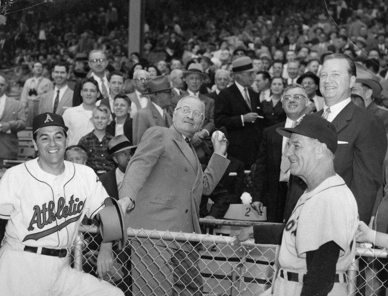 Harry Truman baseball first pitch 1954