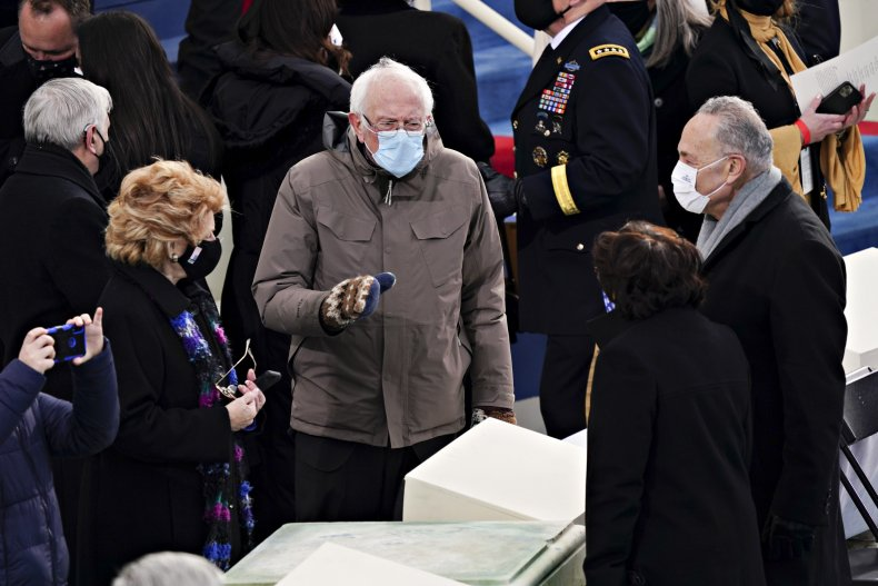 Schumer and Sanders at Biden inauguration