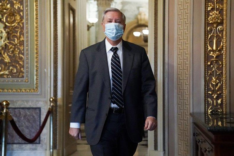 Lindsey Graham walking through halls of Congress