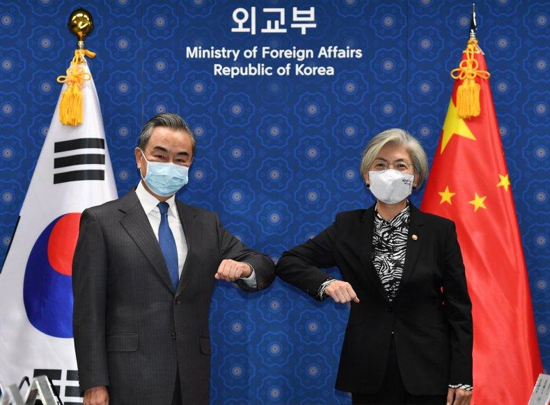 south, korea, kang, china, wang, visit