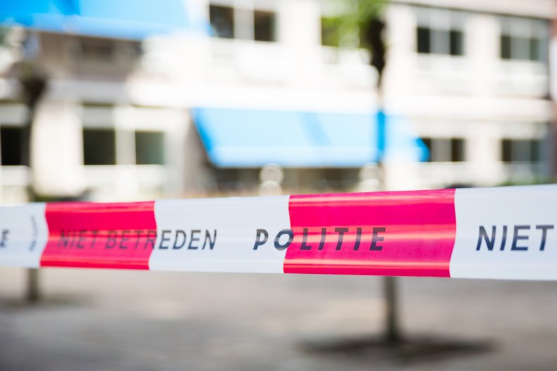 Dutch police tape around crime scene