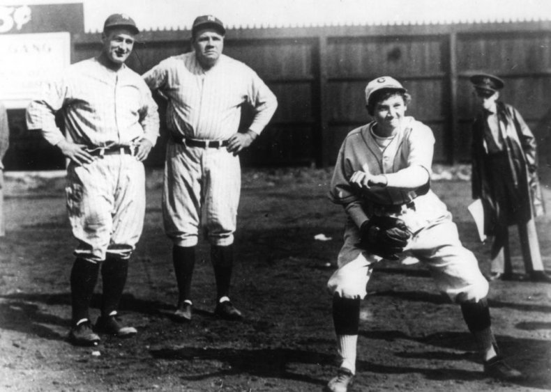 1931: Jackie Mitchell strikes out two of baseball's best