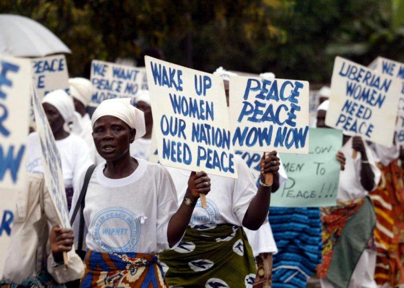 2003: Women of Liberia Mass Action for Peace ends a civil war