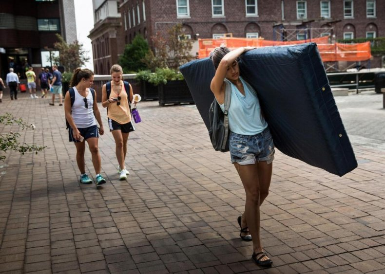 2015: Emma Sulkowicz carries her mattress across campus