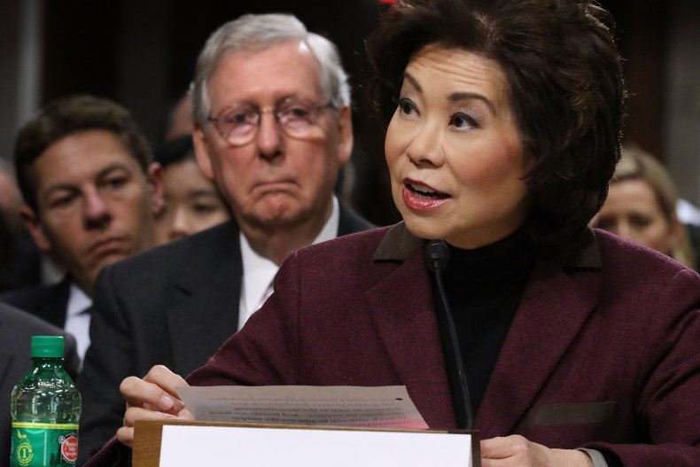Elaine Chao prosecuted abuse power Mitch McConnell