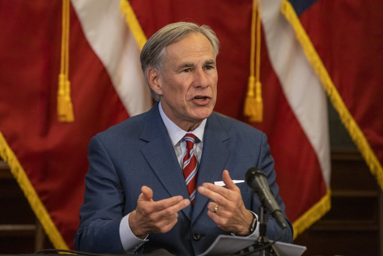 Texas Governor Greg Abbott in May, 2020