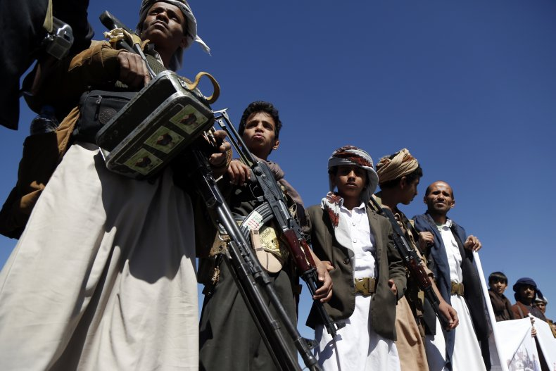 Houthi supporters pictured in Sanaa Yemen