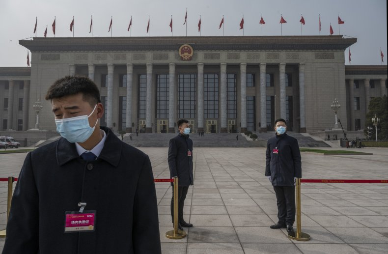Chinese security agents pictured in Beijing, China