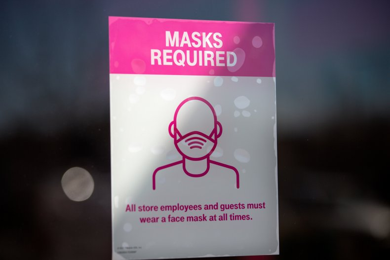 Texas Austin store mask sign March 2021