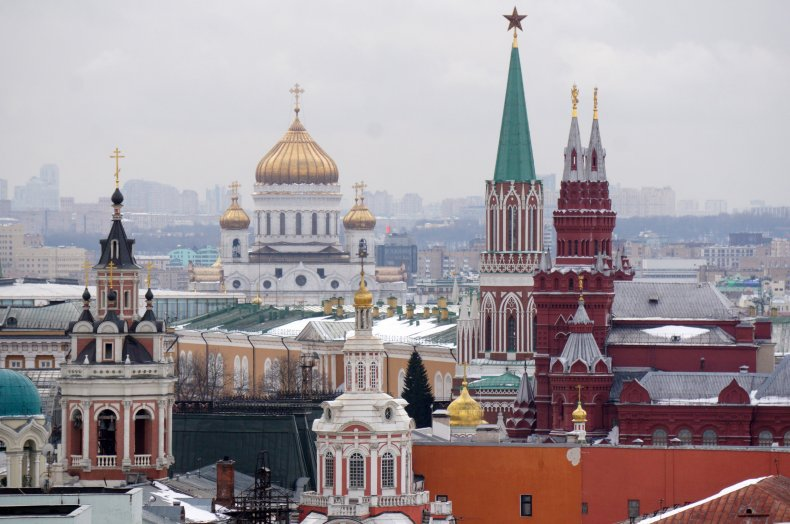 Moscow and Kremlin pictured in February