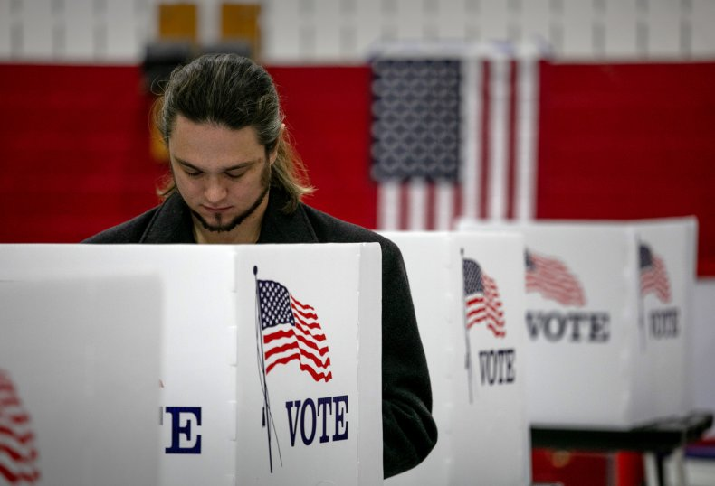 Voter casts ballot in Michigan 2020 election