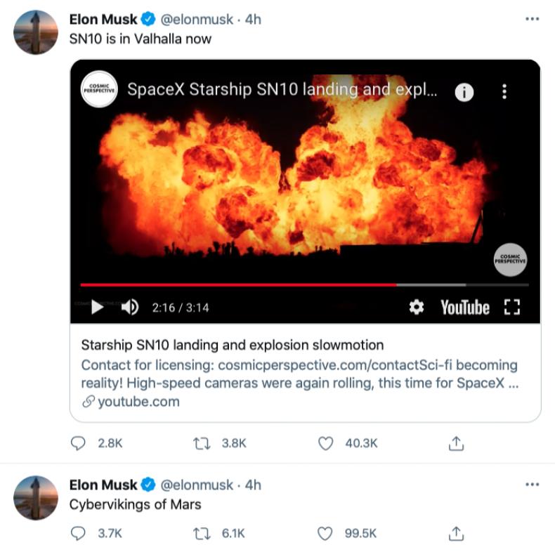 Elon Musk - Starship Tweets