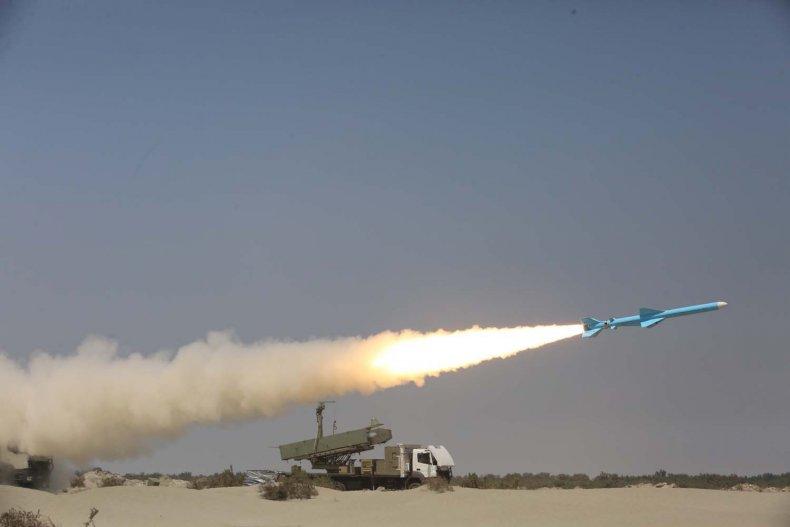 Iran missile during exercises near Hormuz Strait