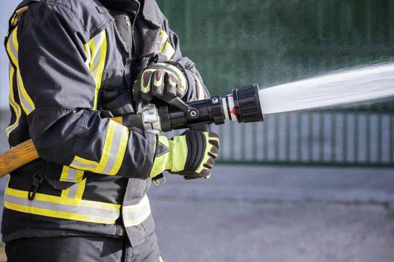 Firefighters battled the blaze on Sunday morning.