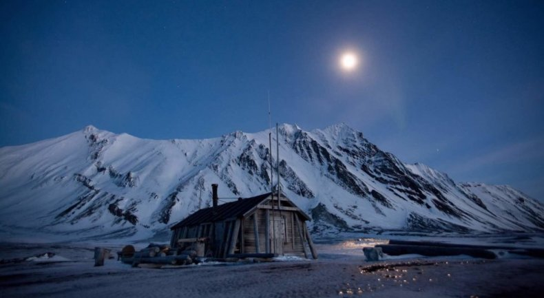 Heart in the Ice Moon Over Svalbard