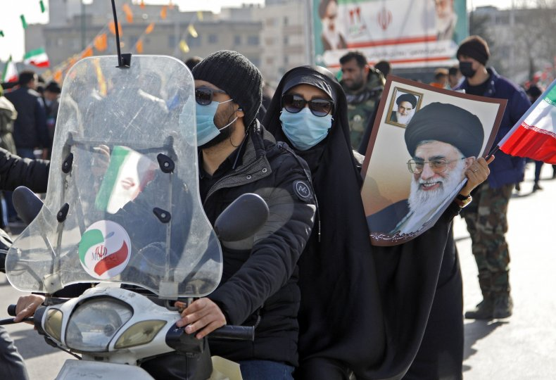 Iranians pictured on freedom day in Tehran