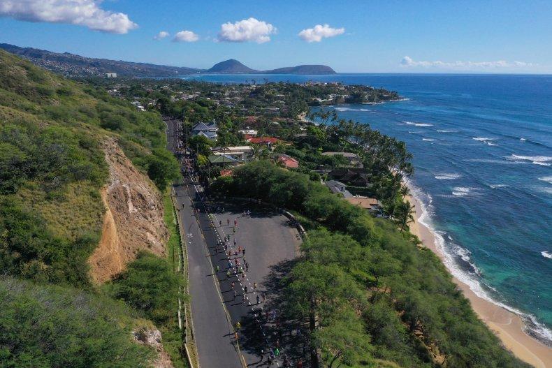 Aerial of Hawaii Honolulu 2019 marathon