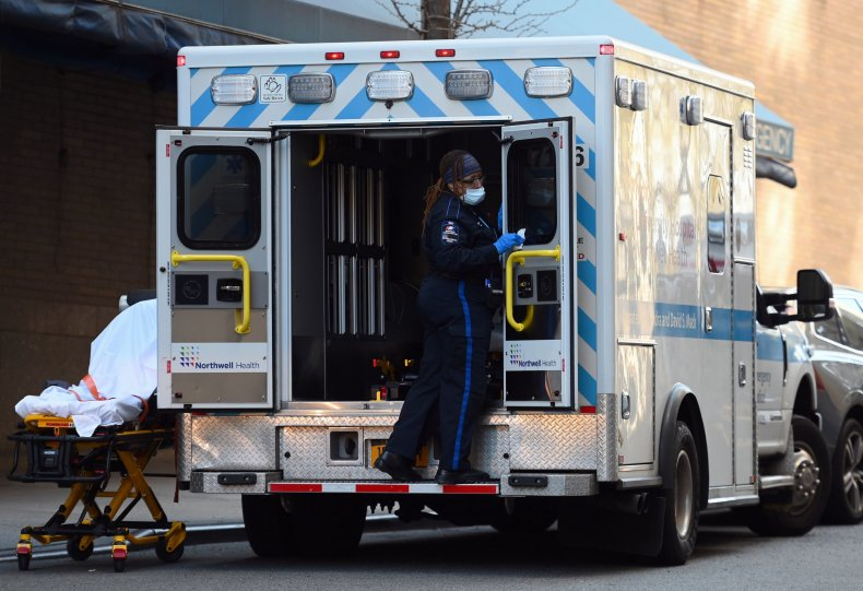 Paramedic sanitizes ambulance