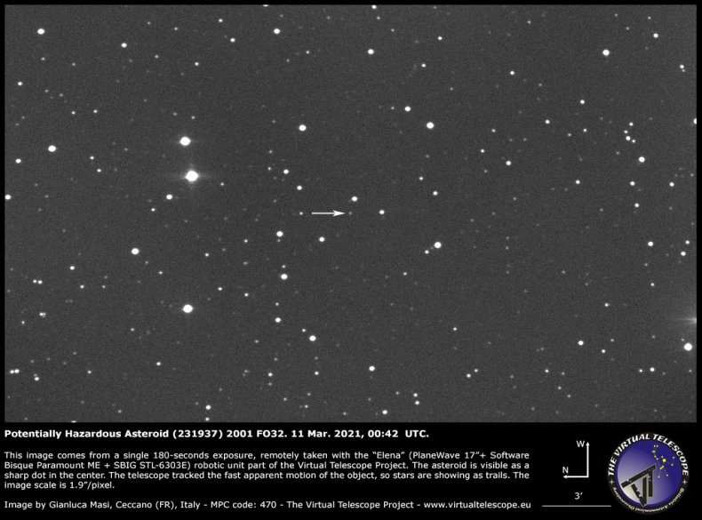 Image of the asteroid 2001 FO32