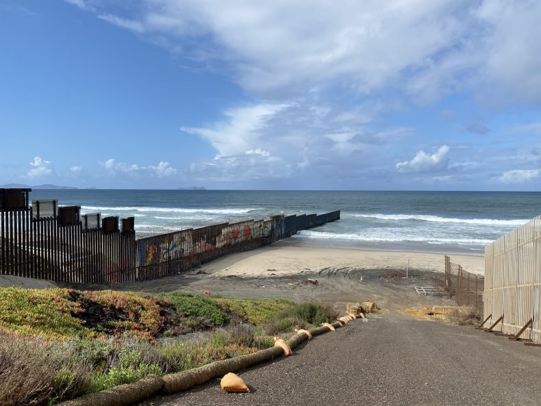 U.S. Border fence in Pacific Ocean
