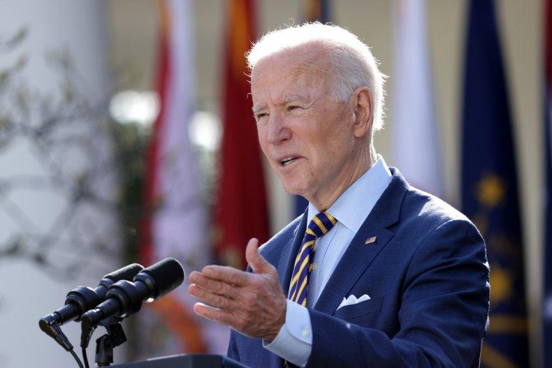 President Joe Biden in the Rose Garden