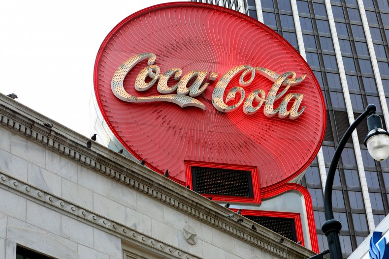 Coca-Cola signage atop the Olympia Building downtown
