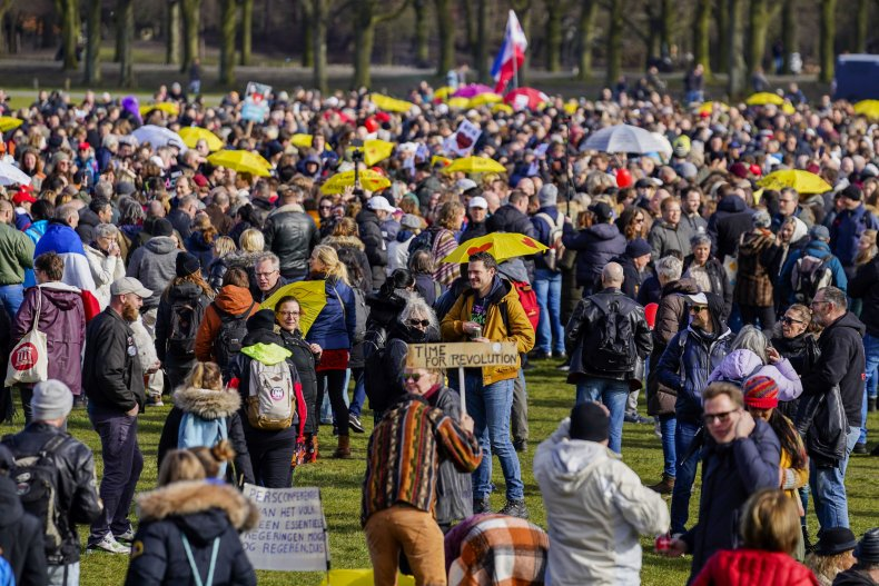 The Hague Netherlands Anti-lockdown protest March 2021