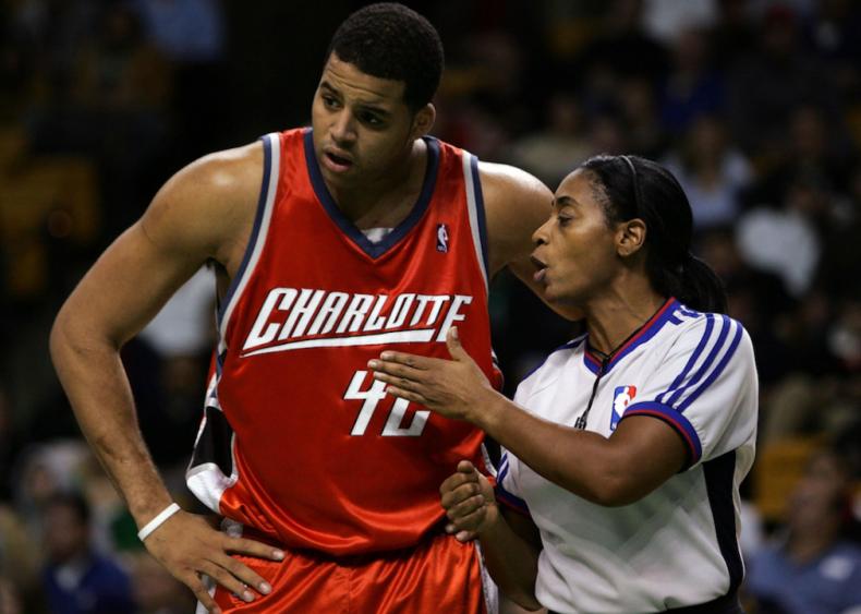 2006: Violet Palmer officiates NBA game