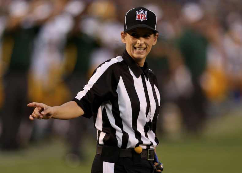 2012: Shannon Eastin officiates NFL game