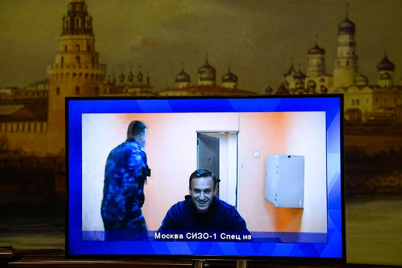 Opposition leader Alexei Navalny appears on a