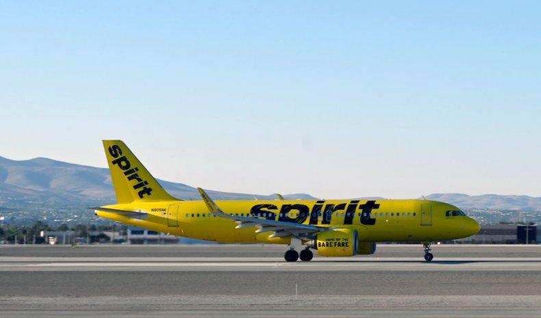 A Spirit Airlines plane in Las Vegas