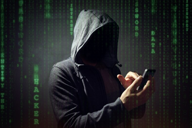 hacker using phone