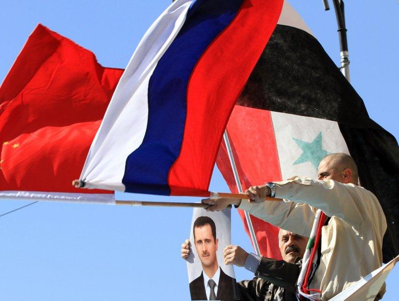china, russia, syria, flags, assad
