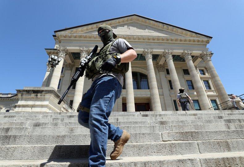 us, veteran, protest, covid-19, lockdown, kansas
