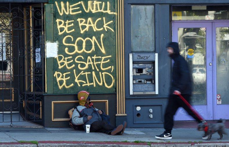 Homeless man in San Francisco amid pandemic