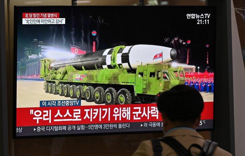 Man watches North Korea military parade