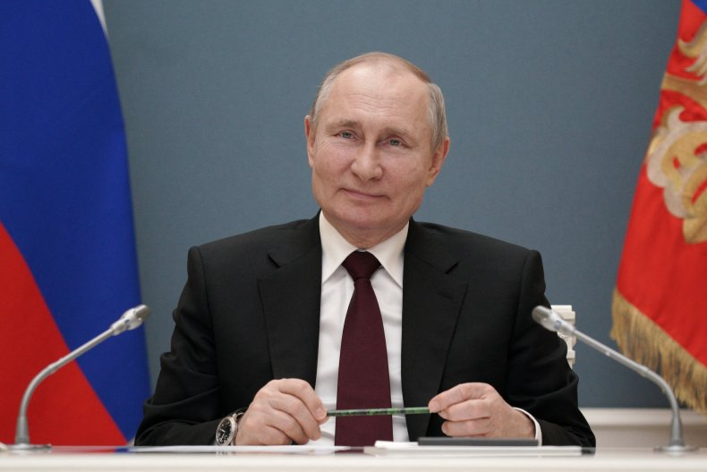 Vladimir Putin pictured at a video event
