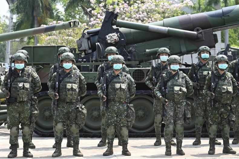Taiwan Soldiers Greet President During Army Inspection