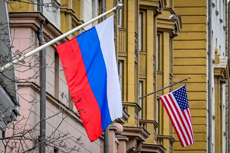 russia, us, flags, embassy