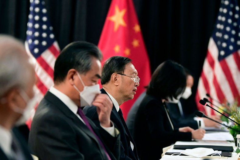 Chinese officials at Alaska meeting with Blinken