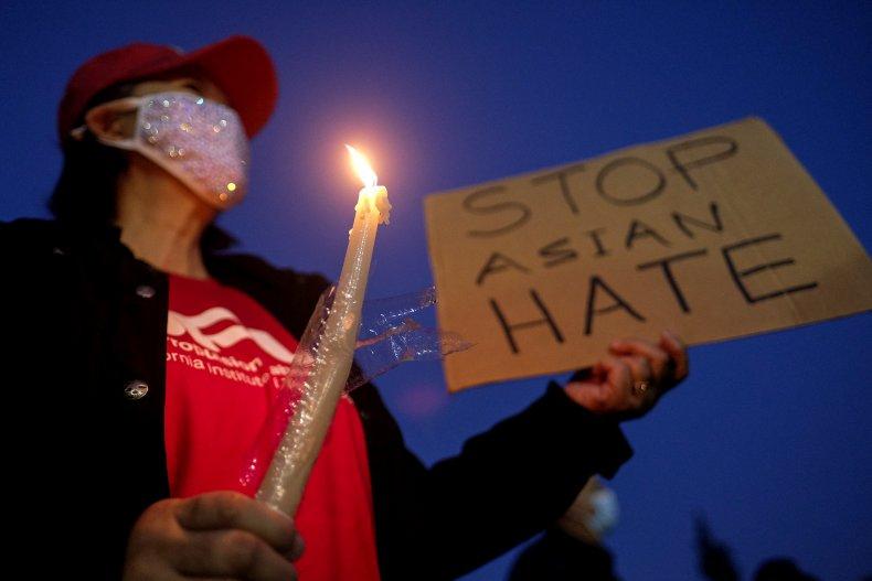 Woman at Stop Asian Hate vigil