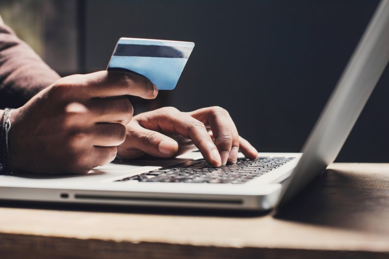 Credit card by laptop
