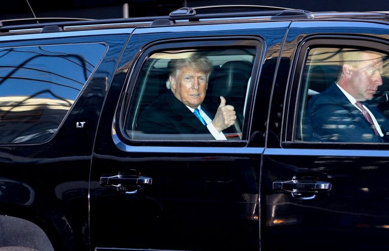 Donald Trump leaves Trump Tower
