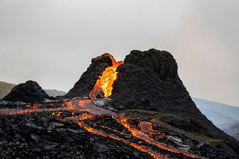 The erupting Fagradalsfjall volcano in Iceland