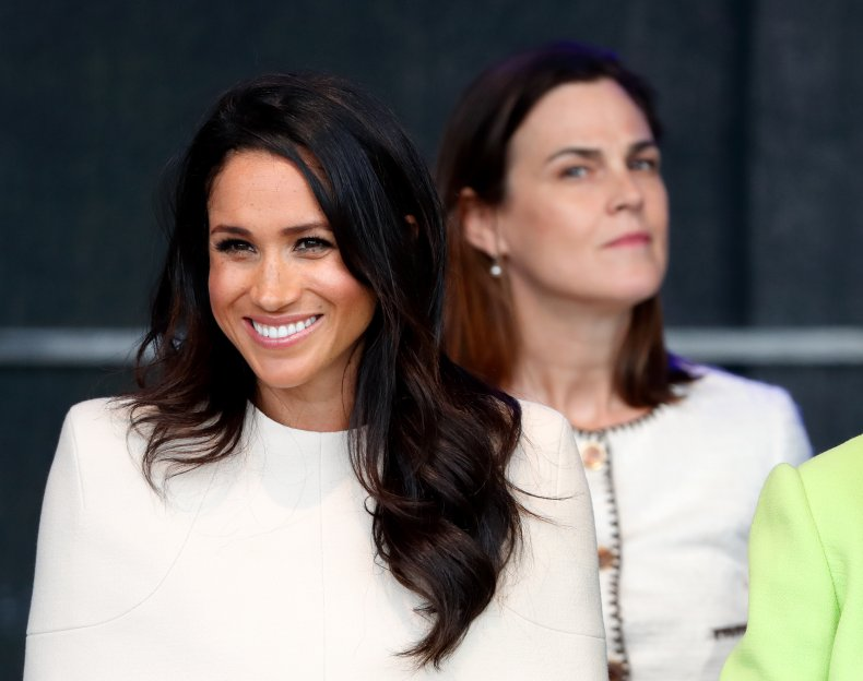 Meghan Markle and Samantha Cohen with Queen