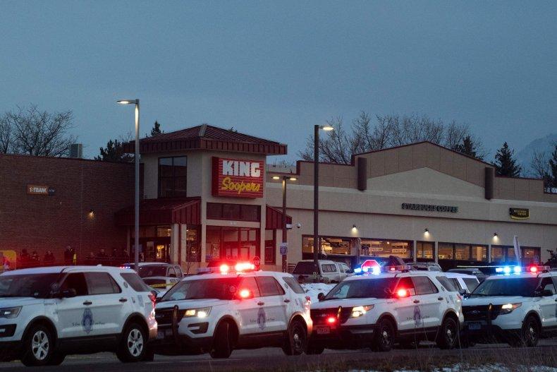 Police cars Colorado shooting King Soopers 2021