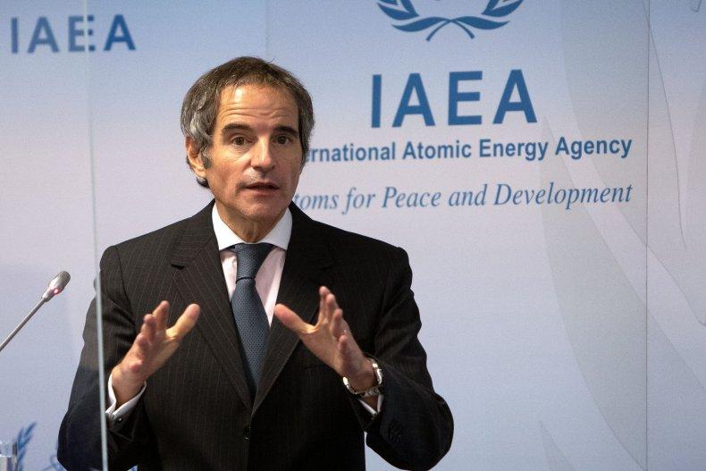 Rafael Grossi speaking at IAEA HQ