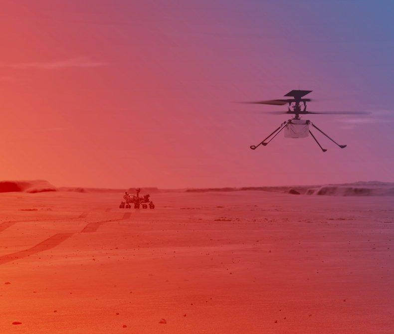 NASA's Ingenuity Helicopter flying on Mars